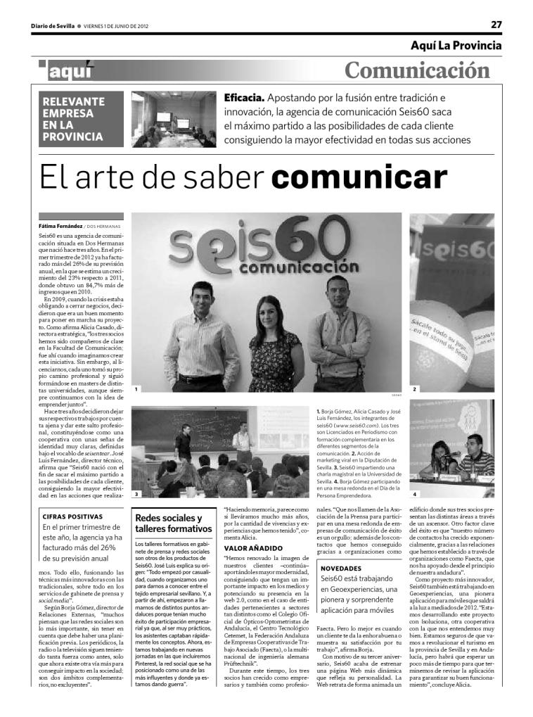 Recorte de prensa de Seis60 en Diario de Sevilla