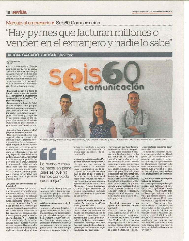 Entrevista a Seis60 en El Correo de Andalucía