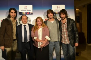 El presidente y la vicepresidenta de la FCHP, acompañados de David Janer, Jaime Terrón (Melocos) y Rubén De la Red