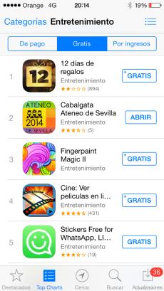 App Cabalgata en el ranking de Apple Store