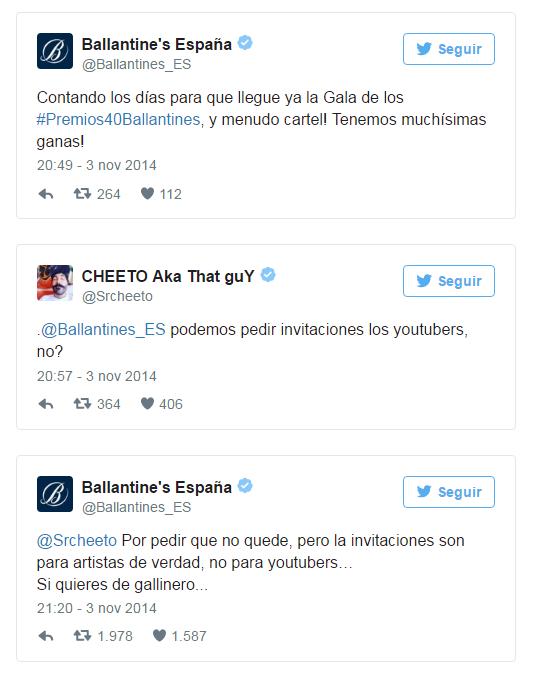 Tuits usuario y Ballatine's España