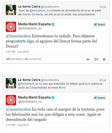 Tuits usuario vs Media Markt España